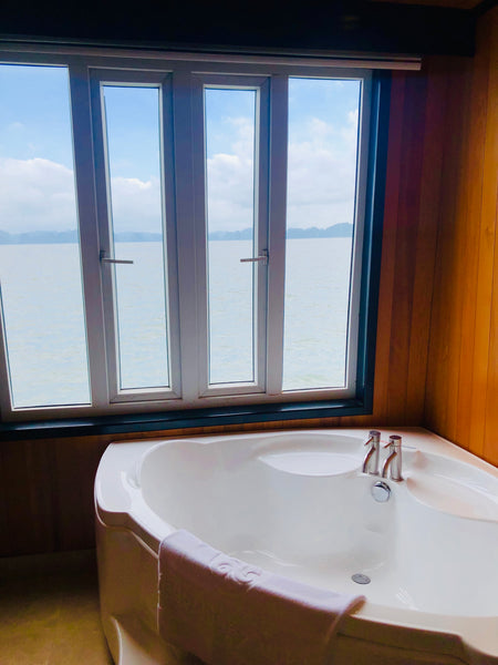 Tub on boat with view