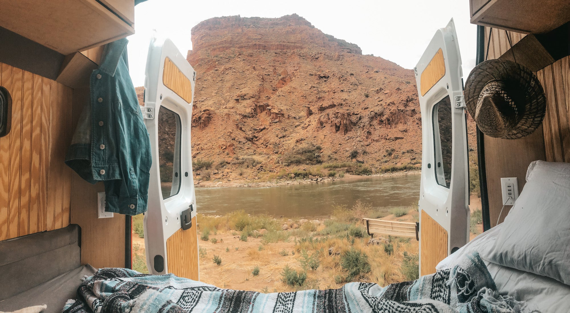view from campervan bed in moab