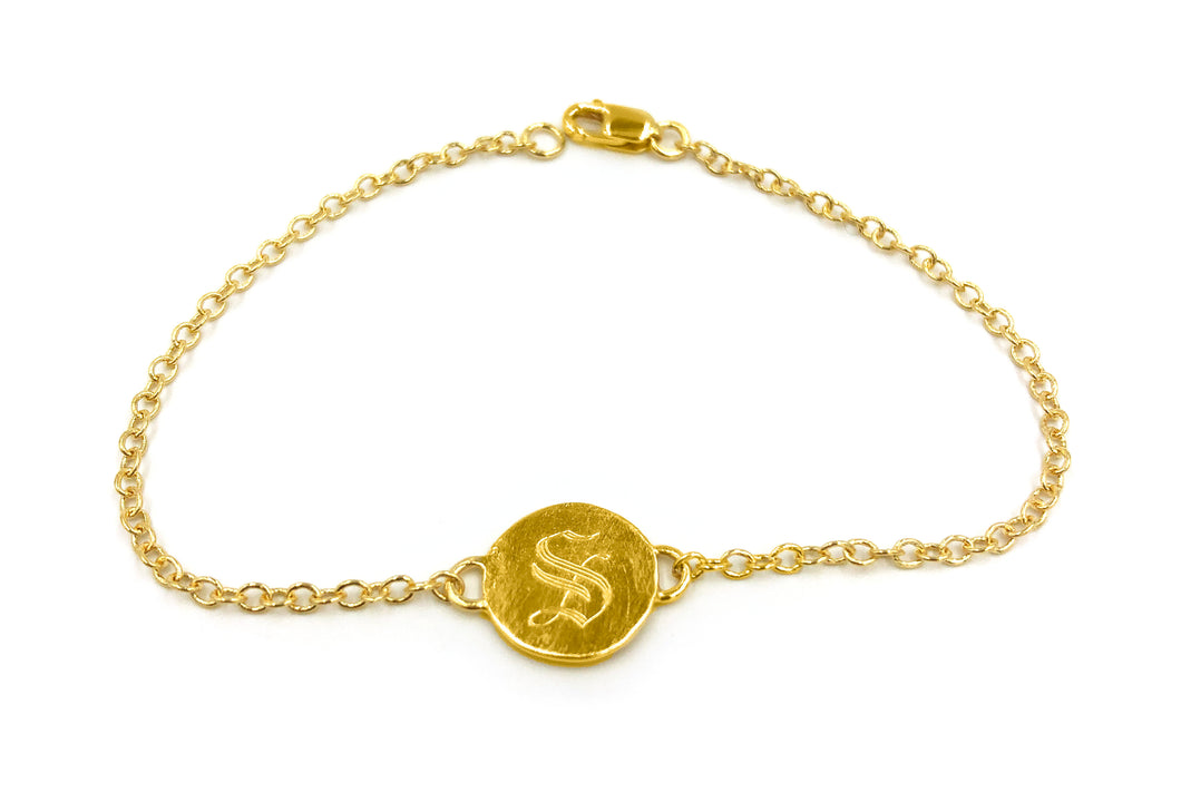 custom initial bracelet with old english font