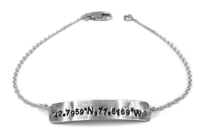 Custom stamped coordinates on rectangular silver plate necklace bracelet
