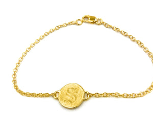 circle bracelet with custom initial engraving