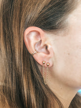 Load image into Gallery viewer, double stud chain earrings on ear