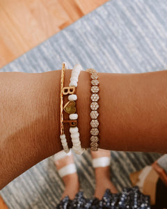 Custom White Beaded Bracelet