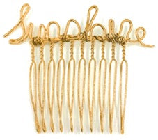 """Sunshine"" in script wire on a hair pin"