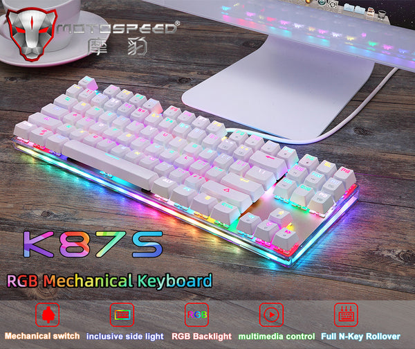 MOTOSPEED White Mechanical Gaming Keyboard RGB Backlight and Keys