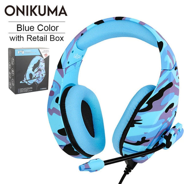 Onikuma Winter Blue Camo Camouflage Gaming Headset