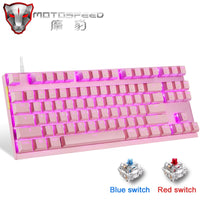 Pink MOTOSPEED LED Backlight Gaming Keyboard Red Blue Switch