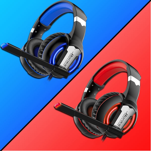 Black Gaming Headset Red or Blue LED Lighting