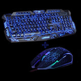 Black Keyboard and Mouse Combo With Blue LED Lightning Design