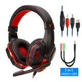 Black Gaming Headset Red LED Lighting