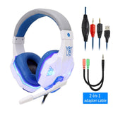 White Gaming Headset Blue LED Lighting