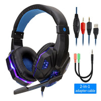Black Gaming Headset Blue LED Lighting