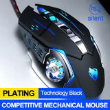 Black Silver Mechanical Gaming Mouse Blue LED