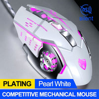 White Silver Mechanical Gaming Mouse Pink LED
