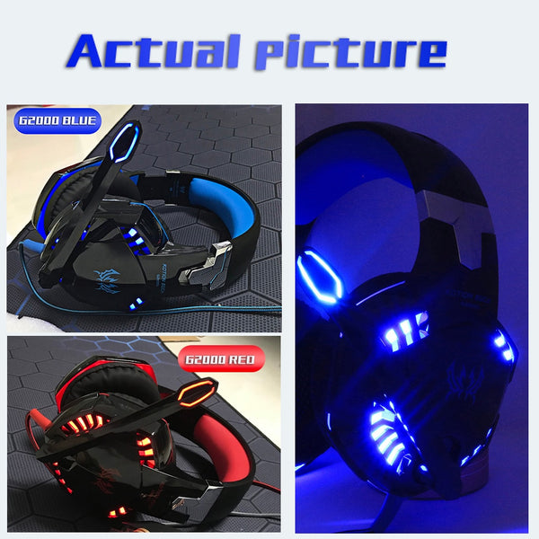 Black Headset Red Blue LED Lighting