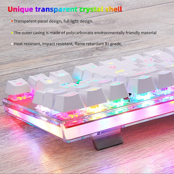 Transparent RGB LED Gaming Keyboard White Keys