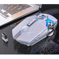White Silver Mechanical Gaming Mouse 7 Color LED