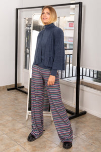 Grey Striped Rib Trousers
