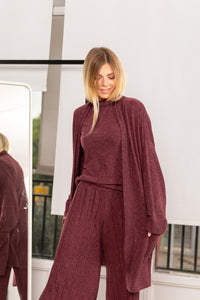 Wine Red Long Cardigan