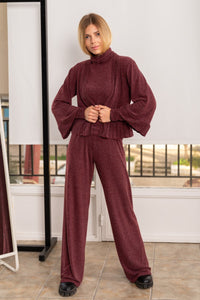 Wine Red Knit Long Trousers