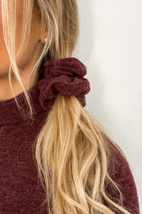 Wine Red Knit Scrunchie