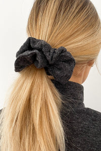 Dark Grey Knit Scrunchie