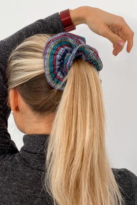 Grey Striped Knit Scrunchie