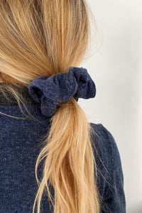 Blue Knit Scrunchie