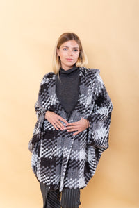White & Grey Wool Cape