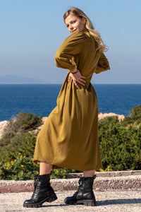 Olive Buttoned Dress
