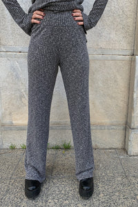 Grey Melange Ribbed Trousers