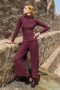Wine Red Knit Pants