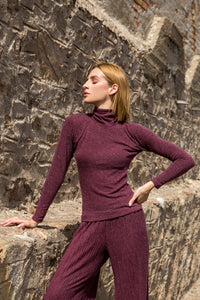 Wine Red Turtleneck Sweater