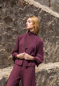 Wine Red Knit Cardigan