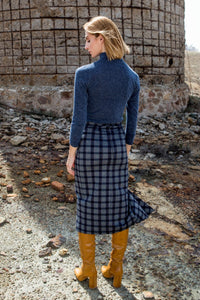Grey Plaid Midi Wrap Skirt