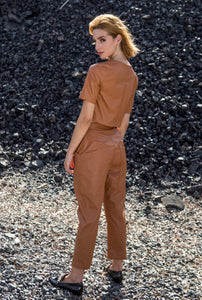 Tobacco Faux Leather Pants