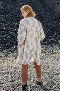 Cream Beaded Oversized Cardigan