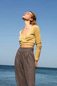 Yellow Mustard Knit Crop Top