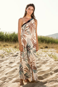 Beige One-shoulder Maxi Dress With Tassels