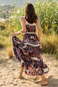 Maxi Printed Dress With Lace Details And Ruffles