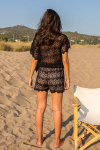 Black Lace Co-ord Top With Short Sleeves