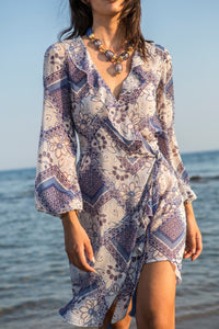 Blue Printed Mini Wrap Dress