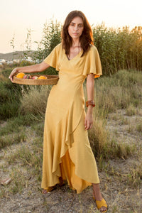 Linen Frilled Asymmetric Long Dress - Mustard Yellow