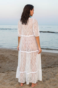 White Lace Kaftan Maxi Dress With Ruffles