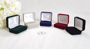 Navy Blue Velvet Double Ring Box 8