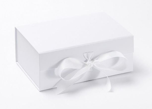 White A5 Luxury Magnetic Gift Box with Ribbon front