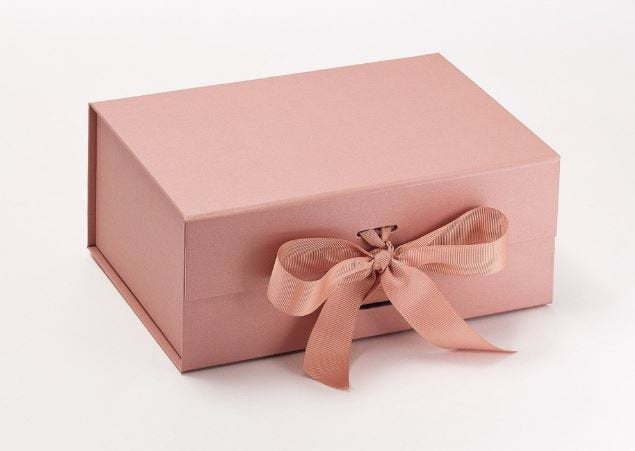 Rose Gold A5 Luxury Magnetic Gift Box with Ribbon front