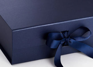 Navy Blue A4 Luxury Magnetic Gift Box with Ribbon detail