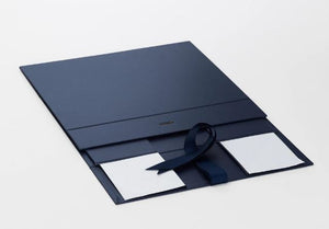 Navy Blue A4 Luxury Magnetic Gift Box with Ribbon flat