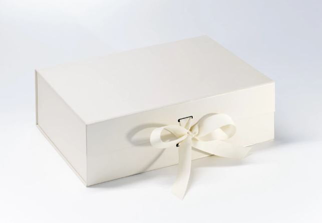 Ivory A4 Luxury Magnetic Gift Box with Ribbon front